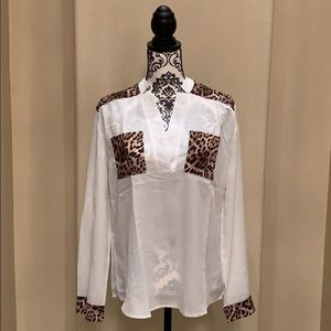 Tops - New White Leopard Print Pocket Blouse